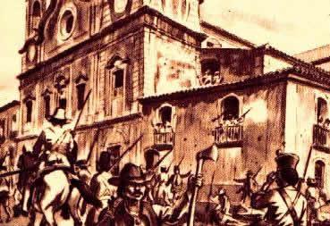 Gravura representando a dominação dos cabanos sobre a cidade Belém, capital do Pará.