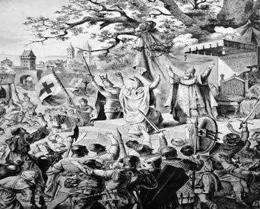 Gravura retratando os primeiros cruzados na Catedral de Clermont