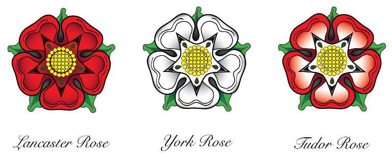 A Guerra das Rosas leva esse nome por conta dos símbolos de York e Lancaster, uma rosa branca e vermelha, respectivamente.