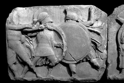 Guerreiros gregos em batalha