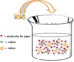Esquema de hidratação dos íons.