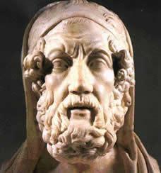 Homero – poeta épico, possível autor de Ilíada e Odisseia