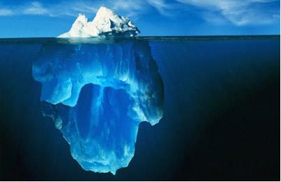 92% do iceberg fica abaixo da superfície da água