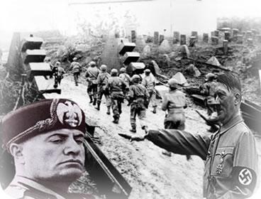 Mussolini e Hitler durante a II Guerra Mundial: ascensão da economia através da indústria bélica.