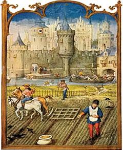 A iluminura retrata os servos arando a terra de um senhor feudal
