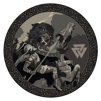 Ilustração que retrata a luta travada entre Odin e o lobo Fenrir, durante a batalha final no Ragnarök.