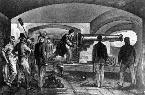 Ilustração retrata o combate durante o ataque ao Fort Sumter em abril de 1861
