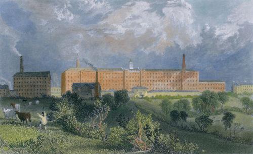 Ilustração de uma indústria têxtil no interior da Inglaterra no século XIX