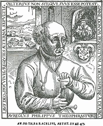 Imagem de Paracelso com a idade de 47 anos e a espada que ele sempre carregava como seu talismã, sua marca registrada