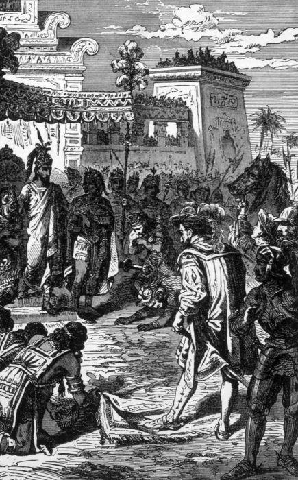 Imagem retrata o primeiro contato entre o imperador asteca Montezuma e o espanhol Hernán Cortés