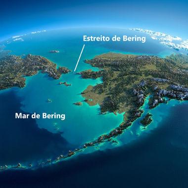 Imagem de satélite sobre o Estreito de Bering, que separa a América da Ásia