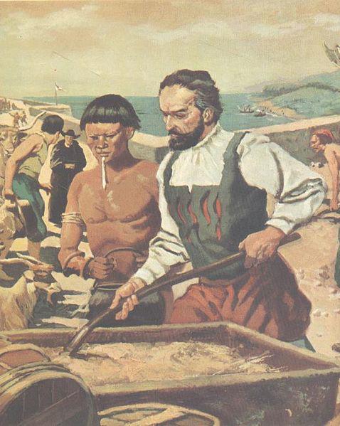 Imagem do século XVIII idealizando o primeiro governador-geral, Tomé de Sousa, com um índio