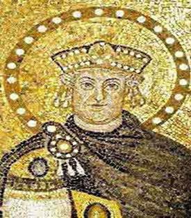 Imperador Justiniano - A técnica da frontalidade na obra.