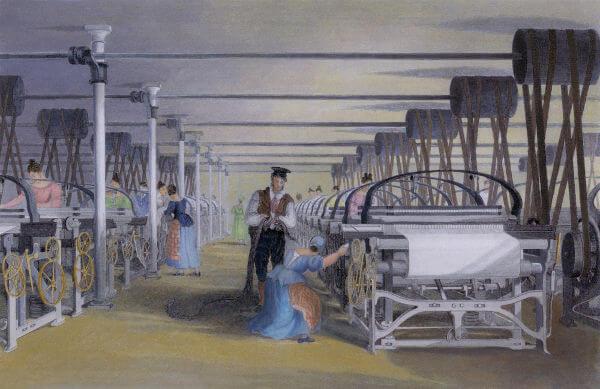 Representação da estrutura de uma típica indústria têxtil da Inglaterra dos séculos XVIII e XIX.