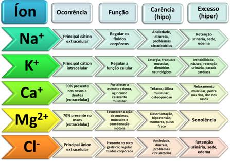 Quadro com funções e efeitos de concentração de íons no corpo