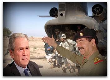 Georg W. Bush X Saddam Hussein: Guerra do Iraque em 2003.