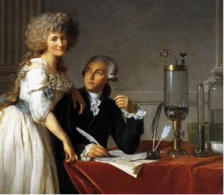 Lavoisier com sua esposa e assistente, Marie Anne