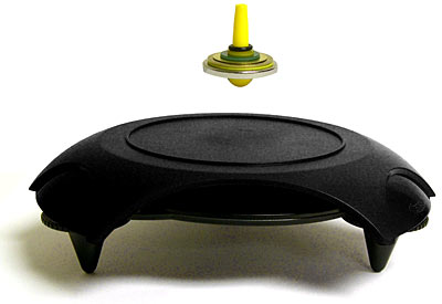 Os piões magnéticos utilizam um balanço entre a força peso e magnética para criar um fino equilíbrio rotacional