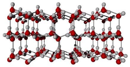 Esquema das ligações de hidrogênio no gelo, formando uma estrutura cristalina de forma hexagonal