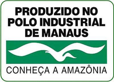 Logomarca da Zona Franca de Manaus. Os bens produzidos em sua área possuem esse selo