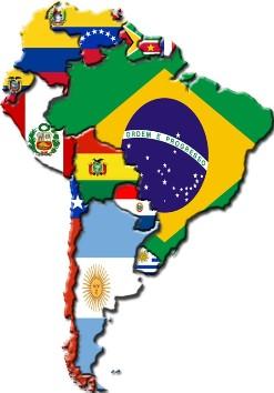 Mapa da América do Sul.