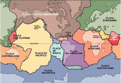 Mapa com a distribuição das placas tectônicas do mundo