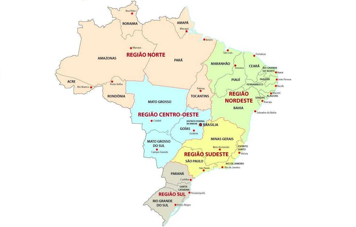 Segundo o Instituto Brasileiro de Geografia e Estatística, o Brasil é dividido em cinco regiões.