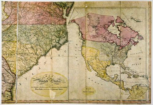 Mapa dos Estados Unidos do começo do século XIX retrata todos os territórios americanos desse período
