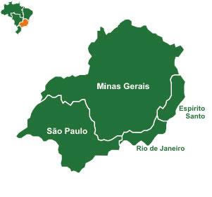 Mapa da Região Sudeste do Brasil
