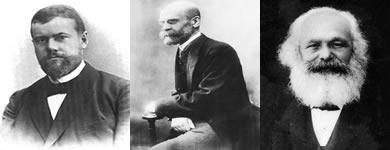 Max Weber, Émile Durkheim e Karl Marx - os três principais pensadores clásicos da sociologia