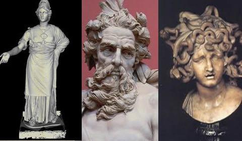 Minerva, Vulcano e Medusa.