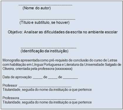 A folha de aprovação se constitui de elementos específicos