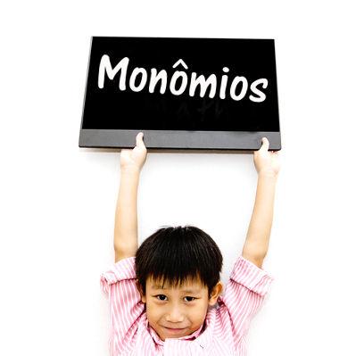 Monômios são expressões algébricas constituídas por um coeficiente numérico e uma parte literal