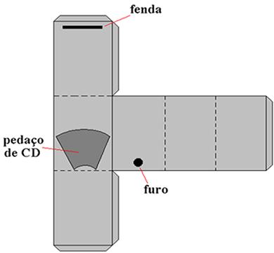 Formato do corte da caixa de papelão a ser montada para o espectrômetro