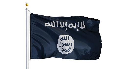 """Na bandeira do Estado Islâmico, consta em árabe: """"Não há deus a não ser Deus, Maomé é o mensageiro de Deus"""""""