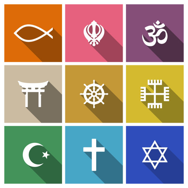 Na imagem, constam símbolos sagrados de diferentes religiões.