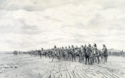 Napoleão Bonaparte à frente do Exército Francês na batalha de Austerlitz