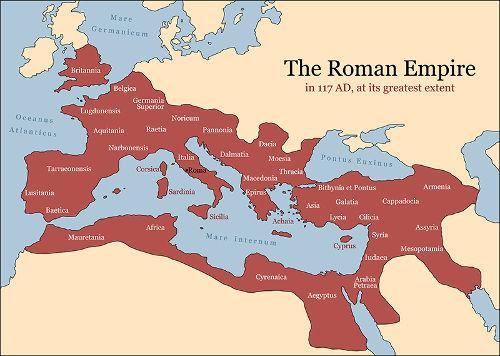 """No mapa, é possível ler """"Império Romano em 117 d.C. na sua extensão máxima"""""""