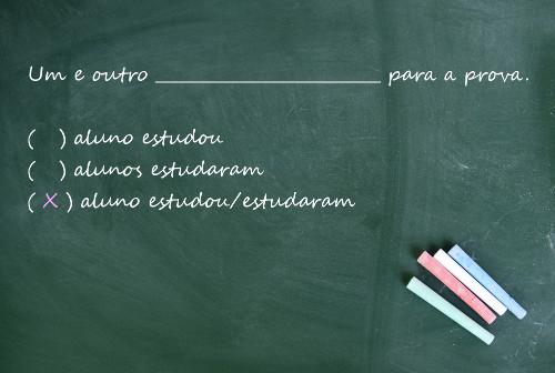 """No uso de """"um e outro"""", o termo determinado fica no singular e o verbo pode ir para o singular ou plural"""