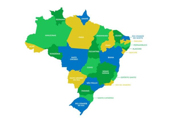 O Brasil apresenta dimensões continentais e é dividido em 26 estados e o Distrito Federal.