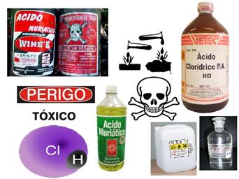 O Ácido Clorídrico é um produto utilizado em laboratório e em produtos de limpeza com o nome de ácido muriático.