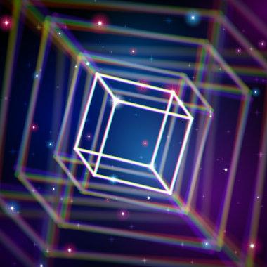 O cubo, que é uma figura espacial, pode ser aumentado ou diminuído de acordo com as suas coordenadas