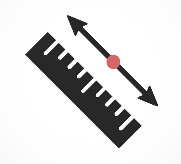 O ponto médio separa o segmento de reta em duas partes com medidas iguais