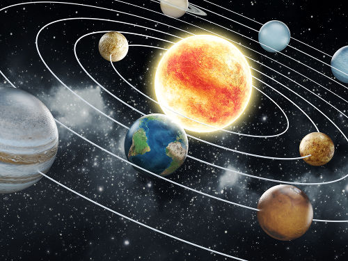 O sistema solar foi utilizado por Rutherford para representar o átomo