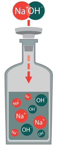 Íons liberados pela base hidróxido de sódio na dissociação