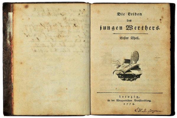 Imagem da primeira publicação da obra 'Os sofrimentos do jovem Werther', obra de Goethe.