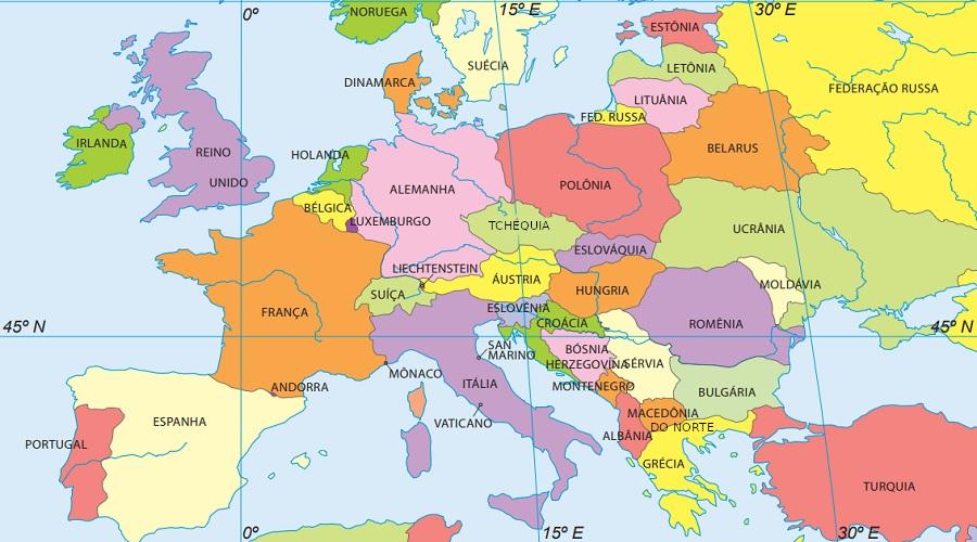 Ao todo o continente europeu é composto por 50 países e territórios independentes. (Fonte: Instituto Brasileiro de Geografia e Estatística)