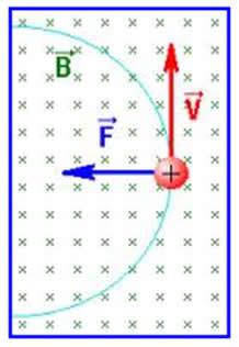Partícula sofrendo ação do campo magnético