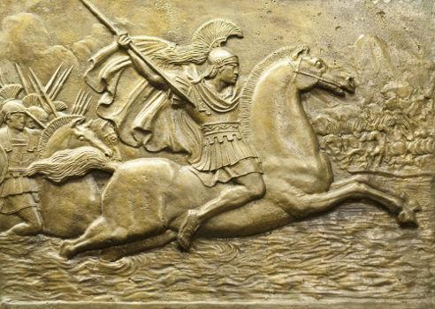 Peça feita de bronze retratando Alexandre, o Grande, trajado para guerra em seu cavalo que se chamava Bucéfalo