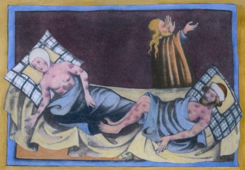 Pintura medieval de 1411 retratando duas pessoas contaminadas pela Peste Negra